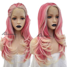 """Anogol Futura Synthetic Pink Blonde Lace Front Wig Hair Wigs Body Wave Wavy 20"""""""