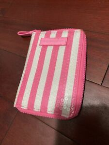Victoria's Secret striped small makeup pouch with inner pockets and mirror
