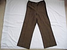 Georges Rech Pants 46 Brown Made in France Trousers Wide Waist Band Polyester