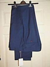 CHARLES TYRWHITT SLIM NAVY WOODSTOCK SHARKSKIN WORK TROUSERS W40L