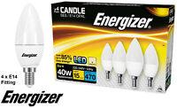 4 x Energizer LED E14 Bulbs Long Life Efficient Candle Opal Warm White 6W = 40W
