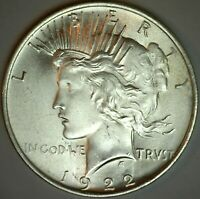 1922 Silver Peace One Dollar Brilliant UNCIRCULATED Silver $1 Coin