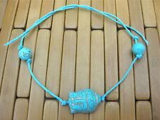 TURQUOISE TIE ON STRING BUDDHA & BEADS YOGA BRACELET ANKLET KARMABEADS blue