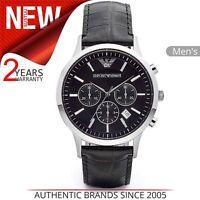 Emporio Armani Men's│Black Leather Strap│Chrono Design│Steel Case Watch│AR2447│