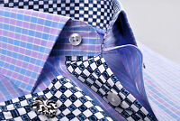 Blue & Purple Mens Formal & Business Dress Shirt Contrast Colored Checkered Cuff