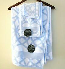 3 Pc Set Divatex Jacquard 100% Cotton White+Lavender Bath,Hand Towel+Washcloth