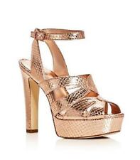 Michael Kors High Heel Platform Sandals 10 M 41 Winona Snake Embossed Rose Gold