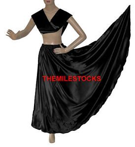 TMS BLACK Satin Skirt + Veil Set Belly Dance Costume Tribal Gypsy Dress JUPE