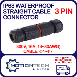 3Pin Waterproof Straight Cable Connector Electric Cable Inline Plug IP68