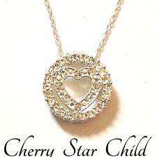 Vintage silver pl white stone set heart circle pendant on chain