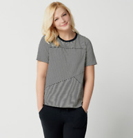 AnyBody Cozy Knit Mixed Stripe T-Shirt - Black/Cream - 1X