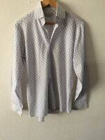 "Shirt White With Blue Diamond Pattern Long Sleeve Size S 40"" Chest <R2303"