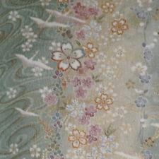 "Japanese vintage kimono silk fabric ""Cranes and Folding Fans"""