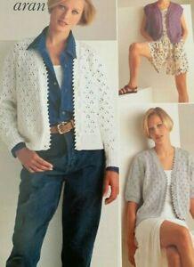 "Three Styles of Ladies Cardigans 30-44"" Aran Vintage Knitting Pattern  L14"