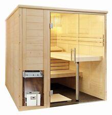 Cabine de Sauna Kit Poêle 34A Contrôle Bois Massif Verre Avant