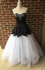 Black White Corset A-line Ball Gown Gothic Bridal Dress Masquerade Sz 14-15