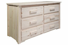 Farmhouse Style 6 Drawer Dresser - Amish Made - Unfinished Pine