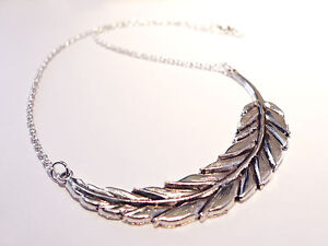 Antique Feather Leaf Statement Necklace -Jewellery Vintage Silver Boho Hippy