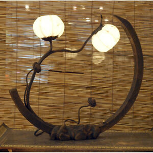 Rice Paper Arc Shade Lantern Unusual Unique Touch Table Art Deco Lampshade Lamp
