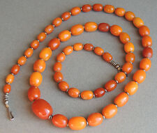 Gorgeous Butterscotch Amber Oval Beaded Necklace 46 Grams