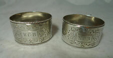 Victorian Oval Silver Napkin Rings Walker & Hall Sheffield 1900 69g A602017