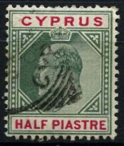 Cyprus  1902-4 SG#50, 1/2pi Green And Carmine KEVII Used #D51594