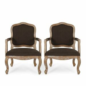 Stene French Country Wood Upholstered Dining Armchair