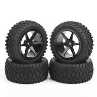 4PCS Rubber Front &Rear Tires 12mm Hex For RC 1/10 Buggy Off-Road Car 6mm offset