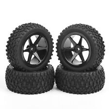 4PC Rubber Off-Road Front&Rear Tires Wheel Rim For RC 1:10 Buggy Car 25036+27011