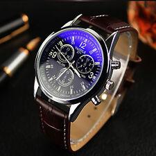 Elegant Herren Leder Sport Armbanduhr Blue Ray Glas Quarz Analog Wrist Watch Uhr