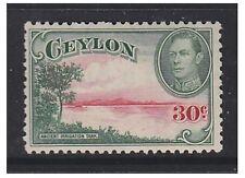 Ceylon - 1945, 30c Green & Red (Wmk Upright) stamp - Mint - SG 393a