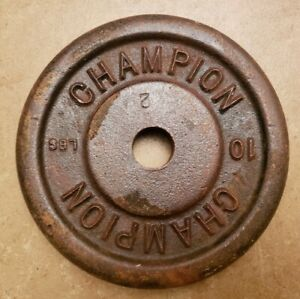 Rare single 10 lb VINTAGE Champion Barbell Standard size weight plate