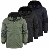Mens Jacket Crosshatch Linus Zip Up Hooded Ripstop Windbreaker Coat