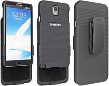 BLACK RUBBERIZED CASE COVER BELT CLIP HOLSTER STAND FOR SAMSUNG GALAXY NOTE 3