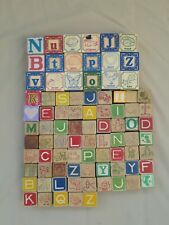 Vintage Wooden Alphabet Blocks 86 Piece Lot Mixed Sets, some Pottery Barn