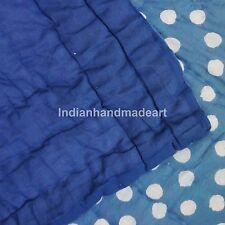 Polka Dot Kantha Quilt Pure 100% Cotton Filled Warm Queen Size Handmade