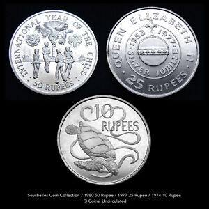 SEYCHELLES COIN COLLECTION (3 COINS) ALL UNCIRCULATED RARE ISSUES