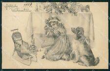Toys Elephant Christmas Greetings Little Girl Dog MGR postcard cartolina QT5960