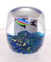 "LOVELY MURANO ART GLASS AQUARIUM MULTI-COLOR FISH & CORAL 3 1/2"" PAPERWEIGHT"