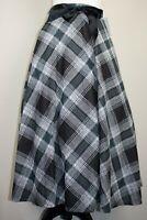 Mid Century Vintage Black Tartan Plaid Midi Swing Skirt BNWT Size 12 14 16
