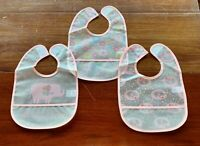 Lot of 3-Pack NEW Pink Elephants Clear Baby Infant Bibs Washable Cup Waterproof