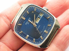 Rare soviet POLJOT Automatic watch Blue TV-Dial, Day & Date *SERVICED*