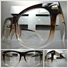 SOPHISTICATED CLASSY VINTAGE Style Clear Lens EYE GLASSES Brown Rose Gold Frame