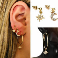 4Pcs/Set Women Gold Moon &Star Crystal Rhinestone Stud Earrings Hoop Jewelry