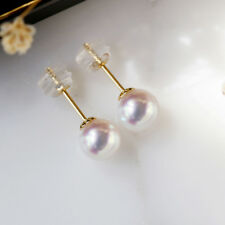 6-7MM AAA+++ GRADE PERFECT ROUND WHITE AKOYA PEARL EARRINGS 14K SOLID GOLD