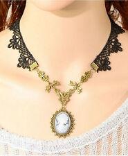 Collana girocollo gioiello pizzo donna Rococo Style Lace necklace beads jewel