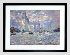 CLAUDE MONET LES BARQUES OLD MASTER BLACK FRAMED ART PRINT PICTURE B12X2529