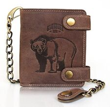 Real leather wallet with chain Tim Bear for men, KLONDIKE 1896, purse, brown