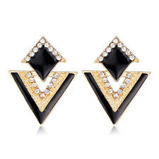 Pendientes Negro Oro Diamantes de Imitación Tacha Fiesta Triángulo Pequeño Corto