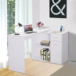 Rotating Corner Computer Desk L-Shaped Table Storage Shelf 360° Drawer Combo